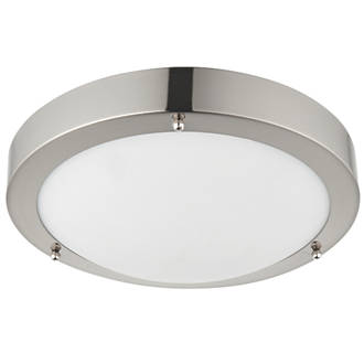 Saxby Portico Round Led Bathroom Ceiling Light Satin Nickel 9w 650lm Bathroom Ceiling Lights Screwfix Ie