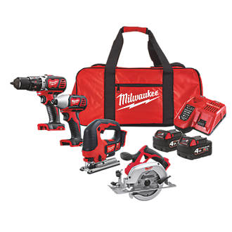 Milwaukee M18 4.0Ah Cordless 4 Piece Kit