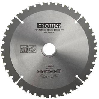 Erbauer Circular Saw Blade 165 X 20mm 40t Circular Saw Blades Screwfix Ie