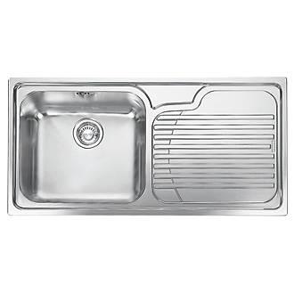 Franke Galassia Inset Kitchen Sink Stainless Steel 1 Bowl 1000 X 500mm Sinks Screwfix Ie