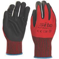 Site KF320 Nitrile Foam Coated Gloves Red / Black Medium