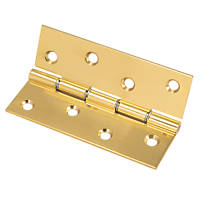 Polished Brass Washered Hinge 102 x 67mm 2 Pack