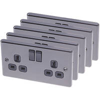 LAP  2-Gang 13A SP Switched Plug Socket Black Nickel 5 Pack