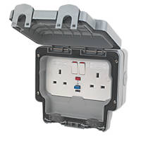 MK Masterseal Plus IP66 13A 2-Gang DP Weatherproof Outdoor Switched Active RCD Socket