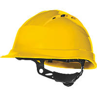 Delta Plus Quartz Up 4 Vented Rotor Wheel Ratchet Safety Helmet Yellow