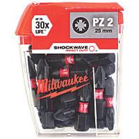 Milwaukee Shockwave Impact Screwdriver Bits PZ2 x 25mm 25 Pack