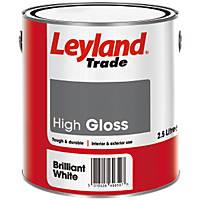 Leyland Trade Gloss Paint Brilliant White 2.5Ltr