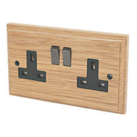 Varilight  13AX 2-Gang DP Switched Plug Socket Classic Oak  with Black Inserts