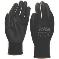 Site KF120 PU Palm Dip Gloves Black Large
