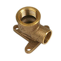 """Yorkshire  Brass Solder Ring Adapting 90° Wall Plate Elbow 15mm x ½"""""""