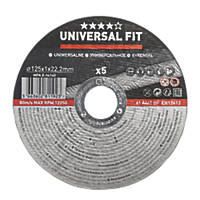 """Stainless Steel Metal Cutting Disc 5"""" (125mm) x 1 x 22.2mm 5 Pack"""