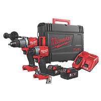Milwaukee M18 ONEPP2A2-502X FUEL 18V 5.0Ah Li-Ion RedLithium Brushless Cordless One-Key Percussion Drill & Impact Driver Twin Pack