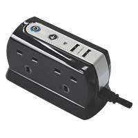 Masterplug  13A 4-Gang  Surge-Protected Extension Lead + 2.1A 2G USB Charger Black 1m