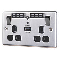 LAP  13A 2-Gang SP Switched Wi-Fi Extender + 2.1A 1-Outlet USB Charger Brushed Steel with Black Inserts