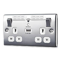 British General Nexus Metal 13A 2-Gang SP Switched Wi-Fi Extender Socket + 2.1A 1-Outlet USB Charger Polished Chrome with White Inserts