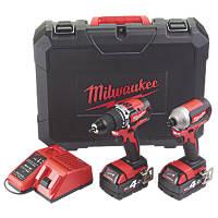 Milwaukee M18 CBLPP2A-402C 18V 4.0Ah Li-Ion RedLithium Brushless Cordless Combi Drill & Impact Driver Twin Pack