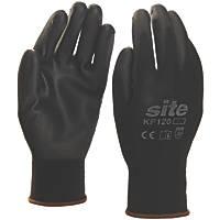 Site KF120 PU Palm Dip Gloves Black X Large
