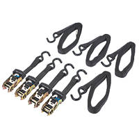 Ratchet Straps with S-Hooks 5m x 27mm 4 Pack