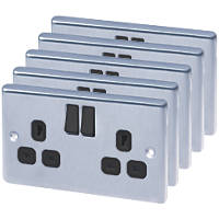 LAP  2-Gang 13A SP Switched Plug Socket Brushed Stainless Steel 5 Pack