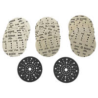 Bosch  Sanding Discs Punched 150mm 80 / 120 / 180 Grit 15 Pack