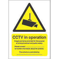 """""""CCTV in Operation"""" sign 210 x 148mm"""