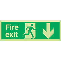 """Nite-Glo  """"Fire Exit"""" Down Arrow Sign 150 x 450mm"""