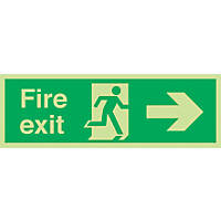 "Nite-Glo  ""Fire Exit"" Right Arrow Sign 150 x 450mm"