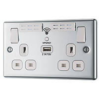 LAP  13A 2-Gang SP Switched Wi-Fi Extender Socket + 2.1A 1-Outlet USB Charger Polished Chrome with White Inserts