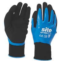 Site KF460 Fully-Coated Latex Grip Gloves Blue / Black Large