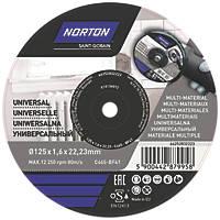 "Norton  Multi-Material Cutting Disc 5"" (125mm) x 1.6 x 22.23mm 5 Pack"