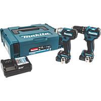 Makita CLX205AJ 10.8V 2.0Ah Li-Ion CXT Brushless Cordless Combi Drill & Impact Driver Twin Kit
