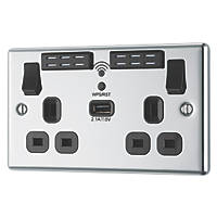 LAP  13A 2-Gang SP Switched Wi-Fi Extender Socket + 2.1A 1-Outlet USB Charger Polished Chrome with Black Inserts