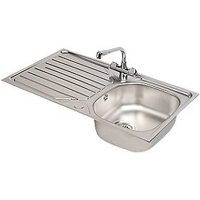 Franke Reno Danube Stainless Steel Inset Sink Mixer Tap 1 Bowl 860 X 500mm Kitchen Sink Tap Packs Screwfix Ie